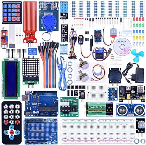 Quimat Ultimate Starter Kit mit R3 Entwicklungsboard, LCD1602, Servo, Schrittmotor, Joystick 21 Tasten Fernbedienung, PIR Motion Sensor 69 Stück