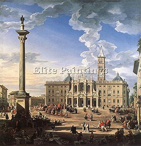 PANNINI GIOVANNI PAOLO PIAZZA CHURCH SANTA MARIA MAGGIORE ARTISTE TABLEAU HUILE 100x100cm HAUTE