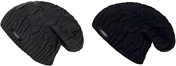 Noise Combo of Grey Wave Cross-Knitted and Black Wave Cross-Knitted Winter Beanie Cap