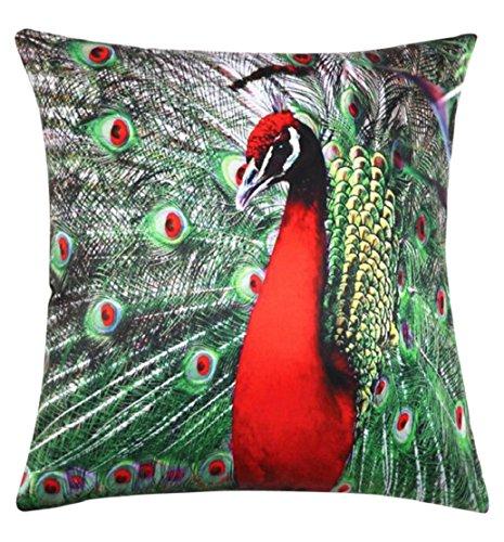 Tonsee Peacock Pfauen Tail Blume Platz Baumwolle Leinen Throw Pillow Case Kissenbezug Kissen (E) E