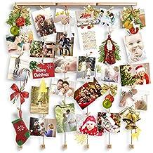 Love-KANKEI® Marco de pared con soporte de imagen de cuerda con 30 pinzas pequeñas Color de madera natural Decoración de hogar encantadora regalo de aniversario de Navidad