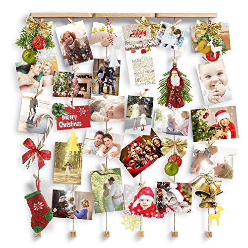 Love-KANKEI® SHMILY Bilderrahmen Collage Fotorahmen Holzbilderrahmen in Wäscheleinenoptik mit 30 kleinen Holzklammern, ( Ideales Weihnachtsgeschenk)