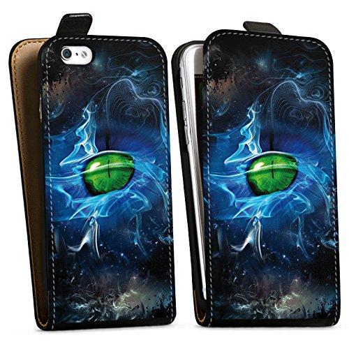 Apple iPhone X Silikon Hülle Case Schutzhülle Augen Grün Eye Downflip Tasche schwarz