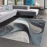 UN AMOUR DE TAPIS 200 x 200 cm Tapis Moderne Design pour Salon Bleu Gris Noir 200x200 cm Couleur et Taille Disponibles (Rond)...