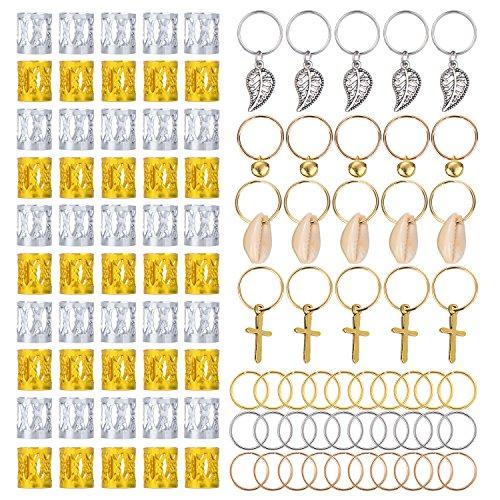 50 Piezas de Anillo de Rasta Puños de Dreadlocks de Aluminio y 50 Piezas de Accesorios de Clip de Pelo Trenzado, Total 100 Piezas de Decoración de Pelo Bisutería de Trenza, Estilos Multiples