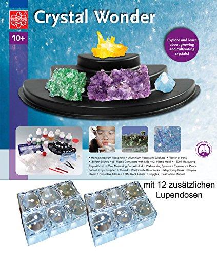 EDU Toys Kristalle züchten Riesen Experimentierpaket 1,9kg deutsch und 12 Mini Lupendosen