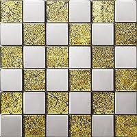 Mezcla de cristal de acero inoxidable mosaico Color mezclado Amarillo Plata Azulejos de mosaico cuadrícula de mosaico Art Deco acero inoxidable mosaico 300*300mm Cocina backsplash / ducha de pared de la pared de la pared / Hotel pasillo pared de la frontera / piso residencial de piso y aplicaciones de la pared SA007-19 (1 pieza)