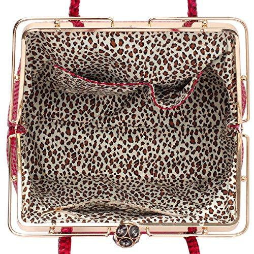 xardi London da donna in pelle sintetica da donna a tracolla doppia maniglia borsa tote Fuchsia