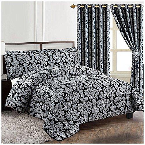 Homes & Deco Diana 3Stück Schwere Jacquard Gesteppt Blumen Tagesdecke Tröster Bett Set, Schwarz, Doppelbett -