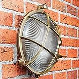 Wandlampe Außen Antik Echt-Messing Rostfrei E27 Riffelglas Käfigschirm IP64 Feuchtraumleuchte Außenleuchte Haus