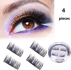 Hihool 4PCS Magnetic Eyelashes Dual Magnet Glue-free 3D Comfortable & Secure Reusable Full Size Premium Quality Natural Look Best False Lashes