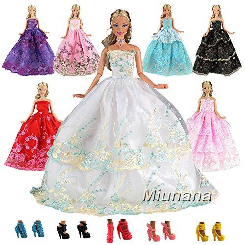 Puppen Prinzessin Barbie Fashionista (Miunana 15=5 St Hochzeit Fashionistas Prinzessinnen Kleidung Abendkleid Kleider Puppenkleid 10 Paar Schuhe für Barbie Puppen Partygeschenk Geschenke)