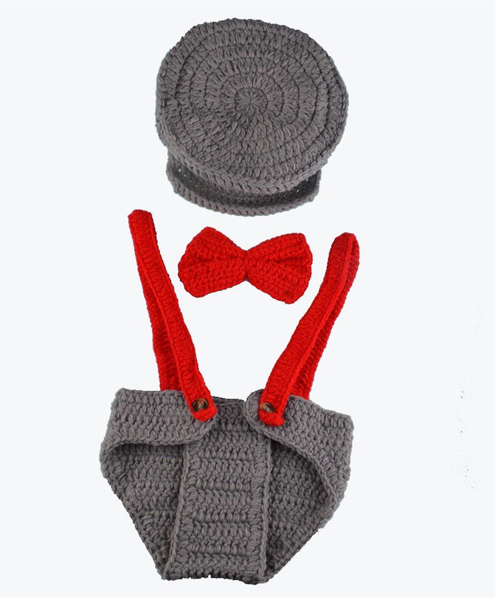 3pcs Baby set cappello + Tie + pantaloni pilota abbigliamento Handmade neonato bambina bambino fotog