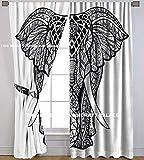 Die Kunst Box Gardinen indischen schwarz & weiß Boho Fenster Vorhänge Elefant Muster Window Drapes Set von 2Tapisserie Gardinen aufhängen Volants für Fenster Raumteiler