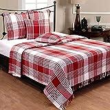 Homescapes Klassischer Sofaüberwurf Plaid rot creme Tartan Schottenmuster 150 x 200 cm handgewobene Überwurfdecke Tagesdecke