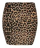 Islander Fashion Damen Stretchy Jersey Printed Minirock Frauen elastischer Bund Kurz Bodycon Brown Leopard Print XXX gro�