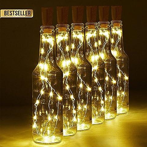 Bouteille Liege LED Lumiere Eclaurage Lampe Guirlandes 1M 10 Fil de Cuivre avec 10 d'ambiance Lanternes Fonctionnant sur Batterie pour Halloween Christmas DIY Décorer Mariage (6 pièces)