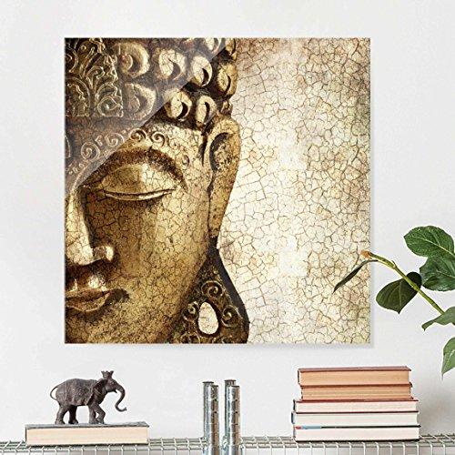 Cuadro de cristal - Vintage Buddha - Cuadrado 1:1, mural acristalado, mural de pared, decoración para pared, decoración, cristal, impresión en cristal, mural de pared de cristal, fotomural de cristal, impresión sobre cristal, Tamaño: 50cm x 50cm