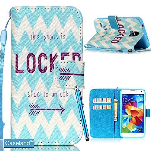 Galaxy S5 Hülle CASELAND PU Leder Flip Brieftasche Stehen Schutzhülle mit Magnetisch Schnalle für Samsung Galaxy S5 i9600 Hellblauen Wellen Gesperrt Samsung Galaxy S5 Gesperrt Un