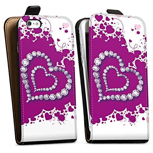 Apple iPhone X Silikon Hülle Case Schutzhülle Herz Liebe Love Downflip Tasche schwarz