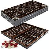 PrimoLiving Deluxe Holz Backgammon Set Granada im XXL Format 50x50 cm
