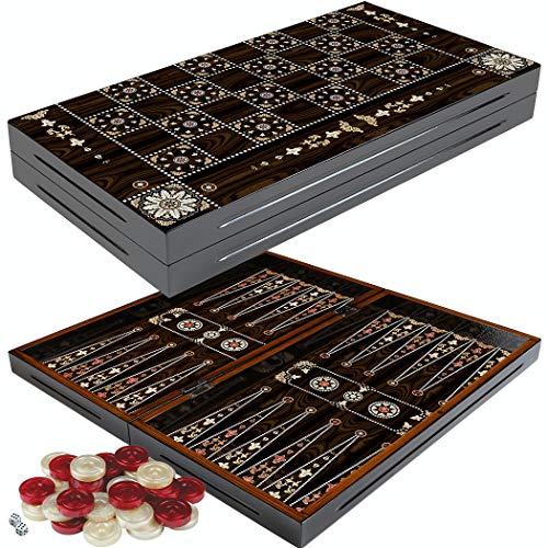 PrimoLiving Deluxe Holz Backgammon Set Granada im XXL Format 50x50 cm - Deluxe-holz