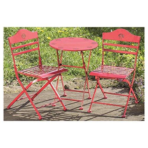 Gartenmöbel 2 Klappstühle 1 Tisch Eisen rot mit Pilzmotiv