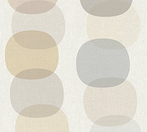 A.S. Création Vliestapete Pop Colors Tapete im Retro Design Retrotapete 70er Jahre Style 10,05 m x 0,53 m beige braun grau Made in Germany 355903 35590-3