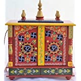 Jodhpur Handicrafts Wooden Temple with LED BULB (Red)