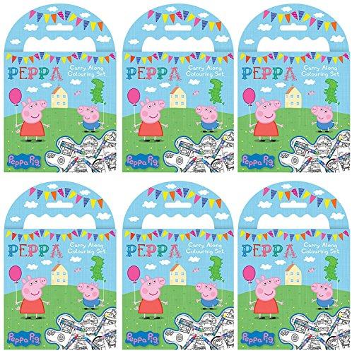 Peppa Pig PARA Llevar para Colorear Juegos (Pack de 6) - Estilo Caja