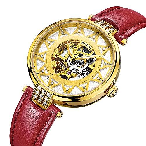 BUREI Elegante orologio meccanico automatico a scheletro femminile con...