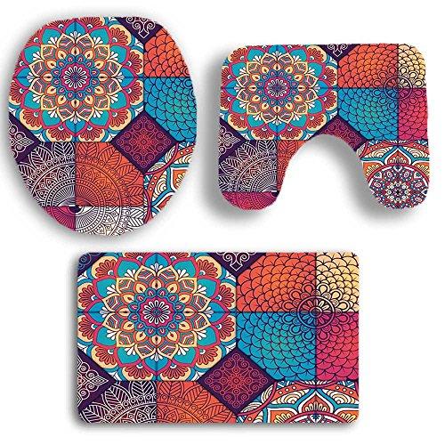DOGZI Schmutzfangmatte Fußmatte Aussen Innenbereich Bodenschutzmatte Teppich - 3PCS Print Badezimmer Rutschfeste Sockel Teppich + Deckel WC Cover + Badematte Set