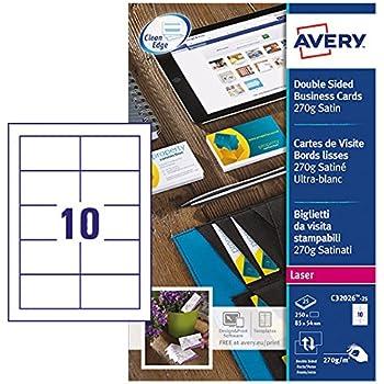 Avery 250 Cartes De Visite Bords Lisses 270g