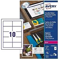 Avery 250 Cartes de Visite à Bords Lisses 270g - 85x54mm - Impression Laser - Satiné - Blanc (C32026)