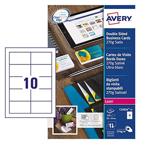 AVERY Zweckform C32026-25 Premium Visitenkarten (250 Stück, 85 x 54 mm, beidseitig bedruckbar, satiniert, 25 Blatt)