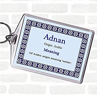 Adnan Name Meaning Bag Tag Keychain Keyring Blue