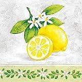 Tovaglioli per découpage,a 3 strati, 33x 33cm, motivo: ramo di limone, per lavoretti e arte con tovaglioli, 4 pz