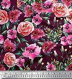 Soimoi Rot Georgette Viskose Stoff Blätter & Rose Blume