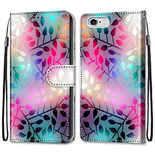 """Nadoli Bunt Leder Hülle für iPhone 6S/6 4.7\"""",Cool Lustig Tier Blumen Schmetterling Entwurf Magnetverschluss Lanyard Flip Cover Brieftasche Schutzhülle mit Kartenfächern"""