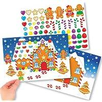 Kits scène de maison en pain d'épices avec autocollants parfaits pour les loisirs créatifs et les décorations de Noël des enfants (Lot de 4)