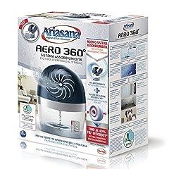 Idea Regalo - Ariasana Aero 360° kit assorbiumidità, deumidificatore ricaricabile non elettrico, assorbi umidità contro condensa, muffa e cattivi odori, 1 dispositivo e 1 ricarica in Tab da 450g