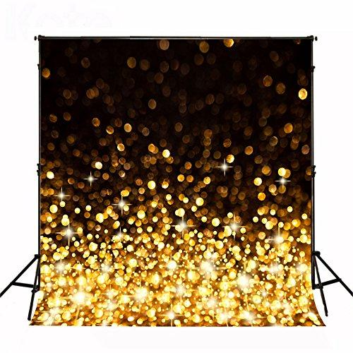 KateHome PHOTOSTUDIOS 1,5x2,2m Gelb Glitzer Hintergrund Yellow Dunklem Hintergrund Schwarz für Party Hintergrund für Portrait Party Kinder Baby Studio...