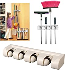 Home Cube ® Wall Mounted Hanger Storage Mop Broom Holder Tool Plastic Brush Broom Organizer - White Color