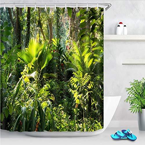 ischer Dschungel Duftendes Laub Grüne Duschvorhänge Palmen Baum Bad Vorhang Stoff Polyester Für Badewanne Dekor 240 (B) X 200 (H) cm ()