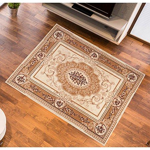 Designer Teppich fürs Wohnzimmer - Klassisches Muster Ornamente - Meliert in Beige mit Bordüre - Bester Preis 130 x 190 cm