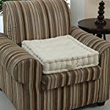 Homescapes Cream Supportive Armchair Booster Cushion with Breathable Luxury Soft to Touch 100% Cotton Cover