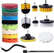JUMBO FILTER Drill Brush Attachment Set, Power Scrub Pads Drill Brush Kit, Scrub Pads&Sponge, Power Scrubber Brush with Exte