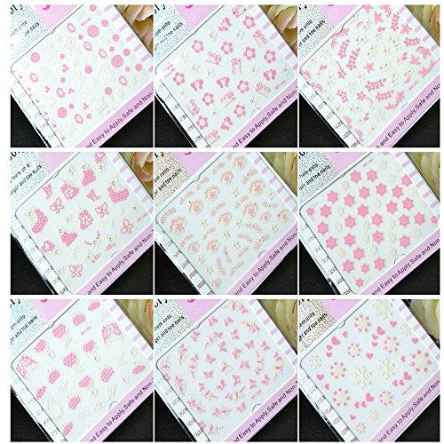 EVTECH (TM) 9 pièces Nail Sticker Foral papillon blanc bowknot rose Blossom macramé Fleurs design Nail Art outil Dentelle Sticker Craved Nail Sticker Tatoo