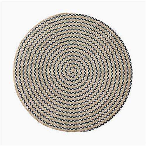 Tisch-teppich (YJR-Teppich Warm Komfortabel Weich Blauer Faden Rundteppich, Handgewebte Seil Baumwolle Computer Stuhl Teppich Schlafzimmer / Wohnzimmer Tisch Matte für Heim & Gewerbe ( größe : Diameter 120CM ))