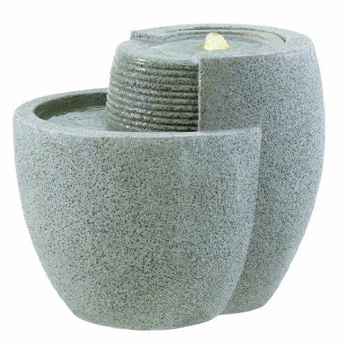 floristikvergleich.de Esteras 8512320848 Fountainslite Stone Garden Fountain, Comallo 48, granite grey, 48 x 40 x 40 cm